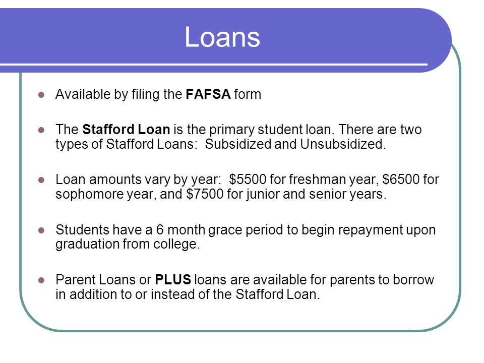 Loans Available by filing the FAFSA form