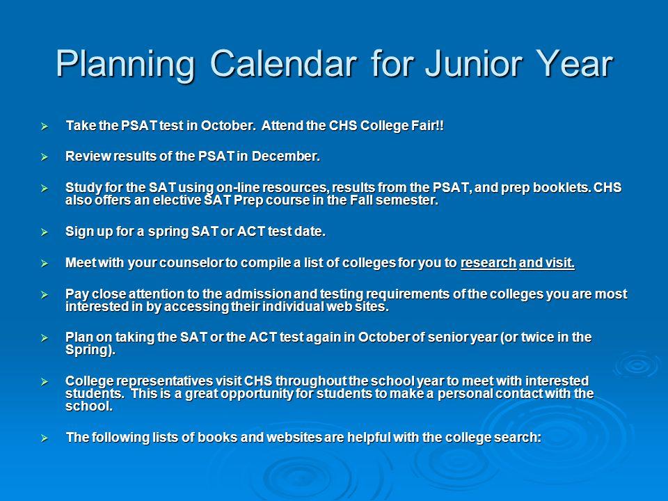 Planning Calendar for Junior Year
