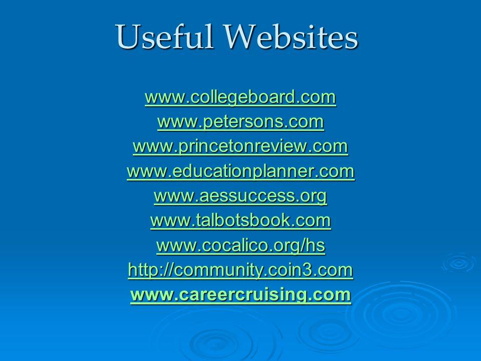 Useful Websites www.collegeboard.com www.petersons.com