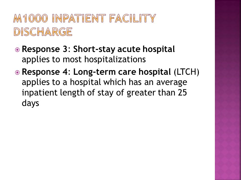 M1000 inpatient facility discharge