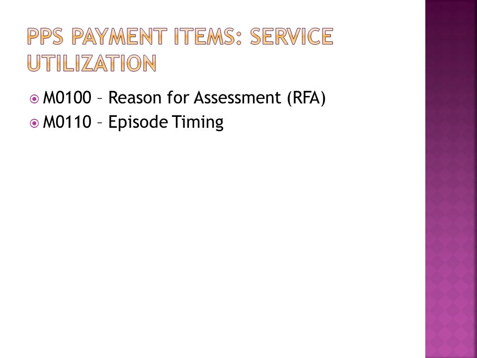 Pps payment Items: service utilization