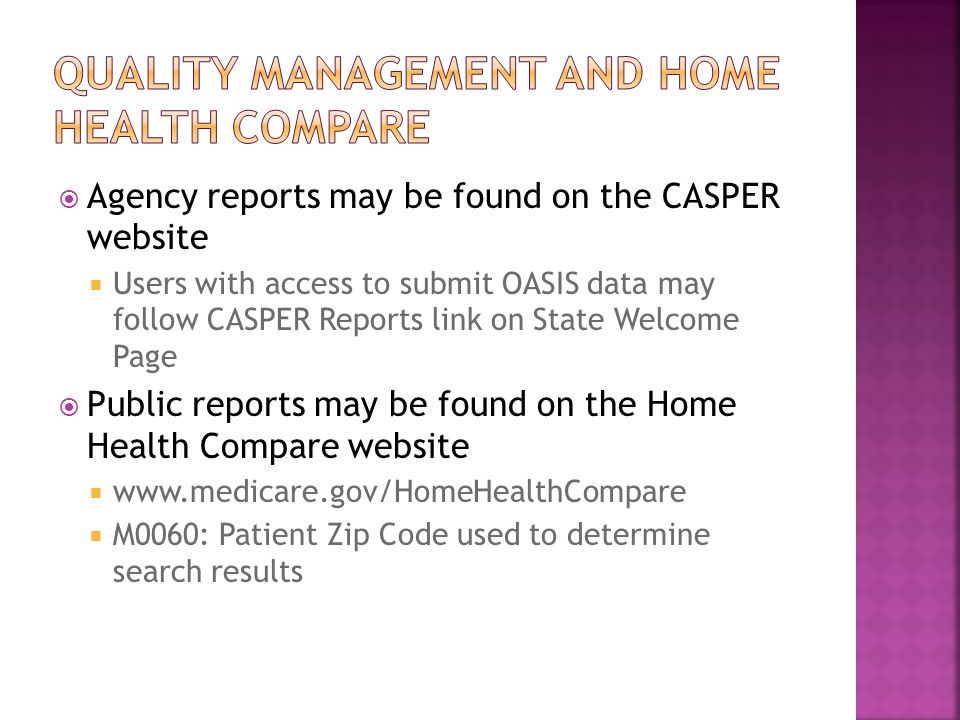 Quality management and home health compare