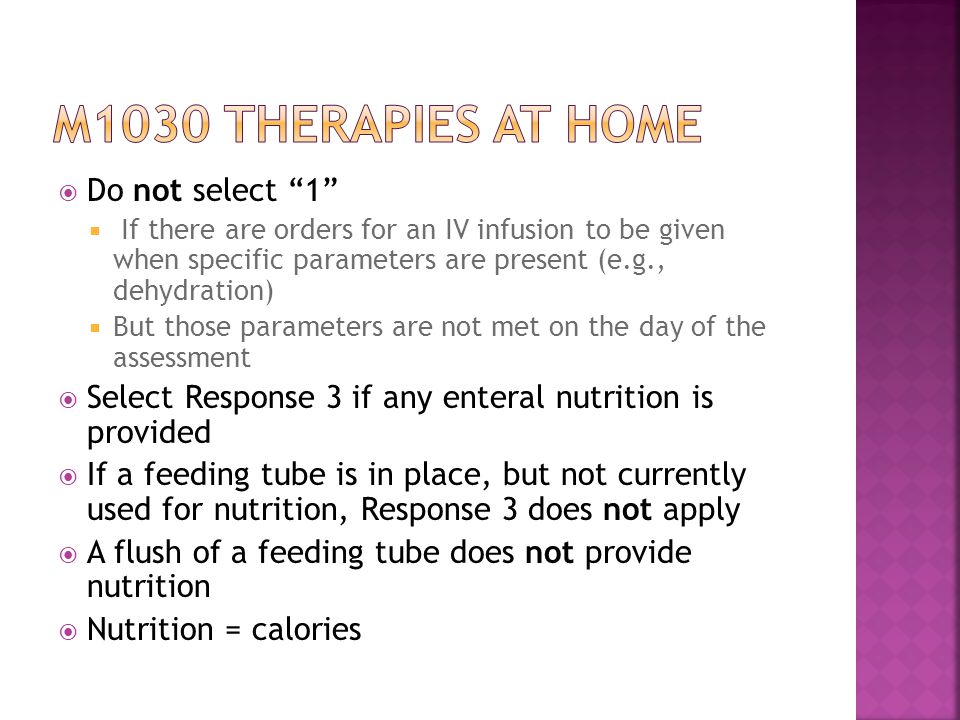 M1030 therapies at home Do not select 1