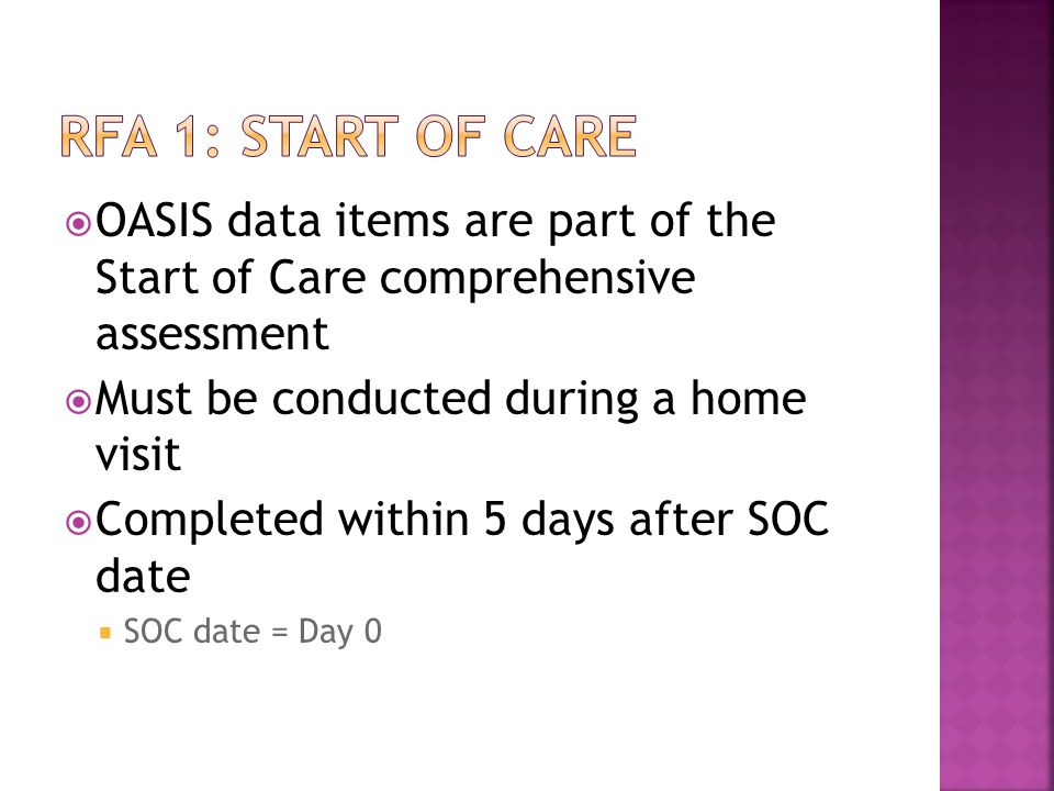 RFA 1: Start of care OASIS data items are part of the Start of Care comprehensive assessment. Must be conducted during a home visit.