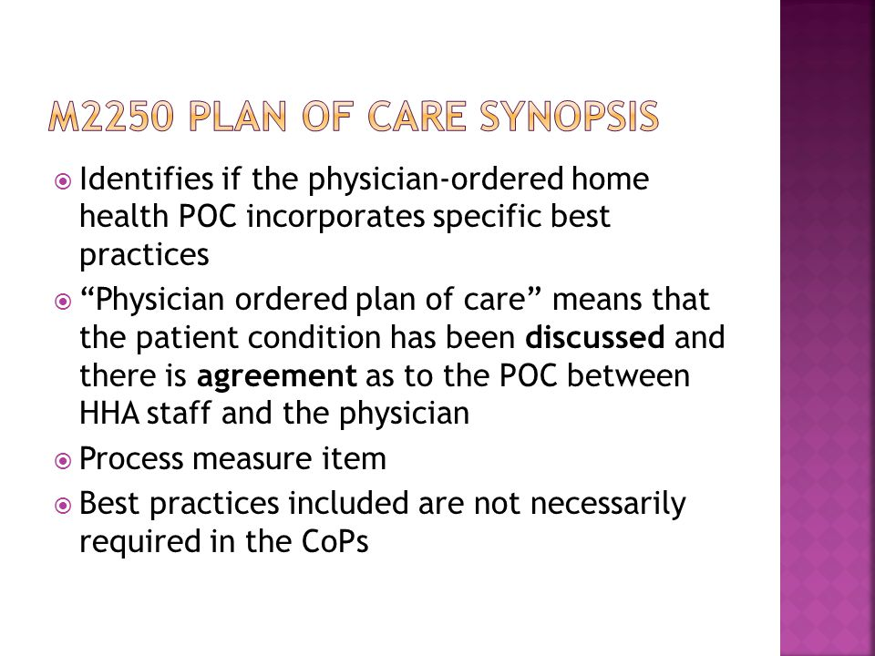 M2250 plan of care synopsis Identifies if the physician-ordered home health POC incorporates specific best practices.