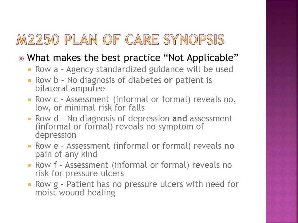 M2250 plan of care synopsis What makes the best practice Not Applicable Row a – Agency standardized guidance will be used.