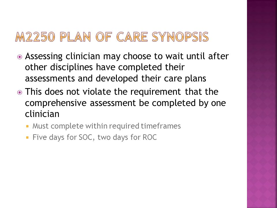 M2250 plan of care synopsis