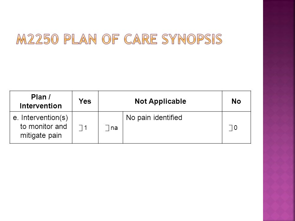 M2250 plan of care synopsis Plan / Intervention Yes Not Applicable No