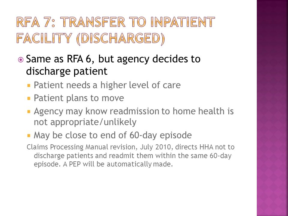 RFA 7: Transfer to inpatient facility (Discharged)