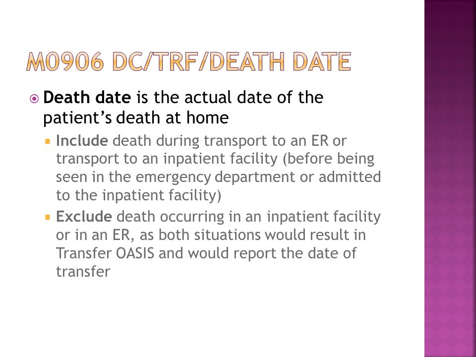 M0906 dc/trf/death date Death date is the actual date of the patient's death at home.