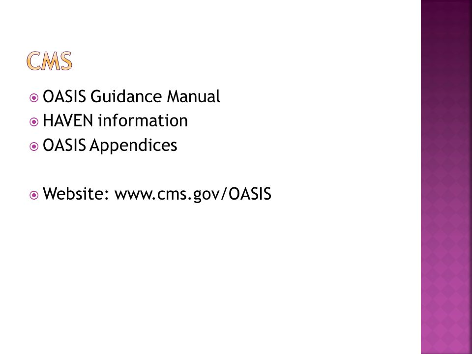 CMS OASIS Guidance Manual HAVEN information OASIS Appendices