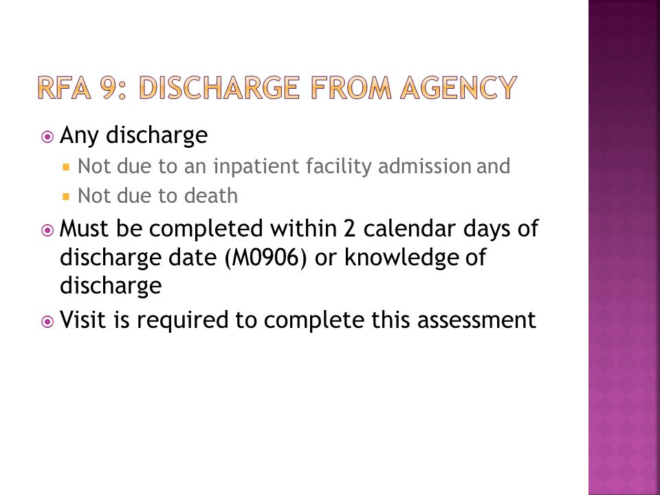 RFA 9: Discharge from agency