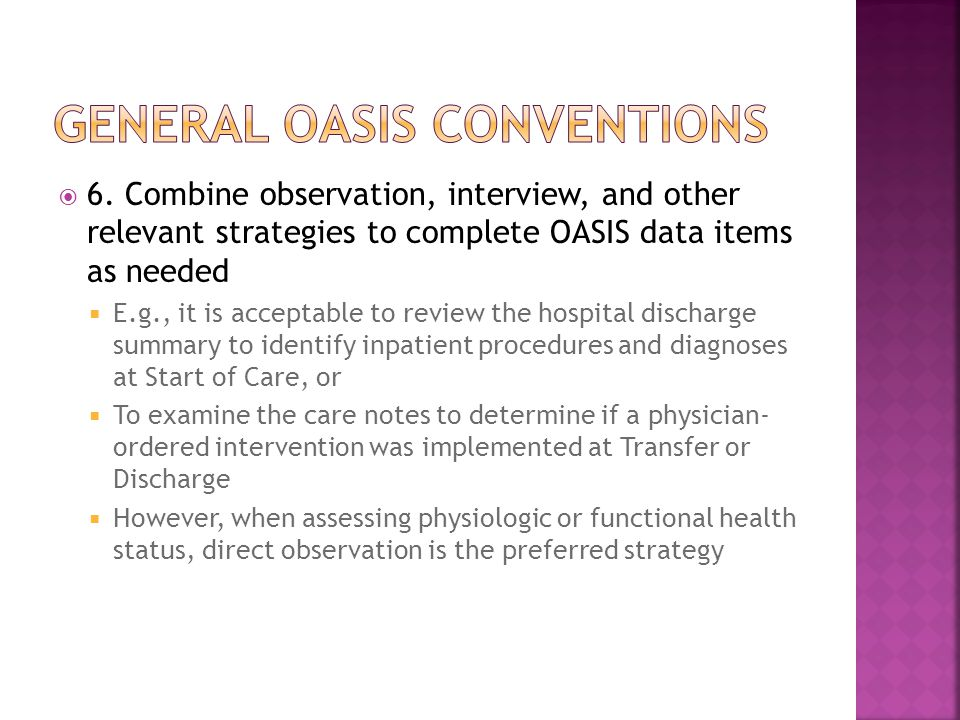 General oasis conventions