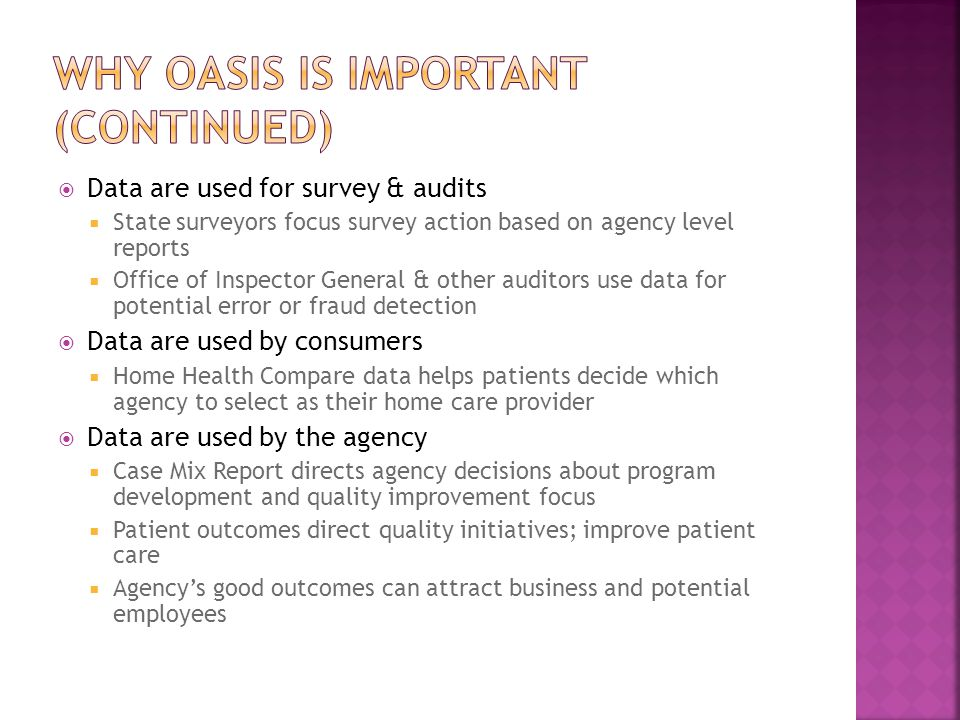 Why oasis is important (continued)