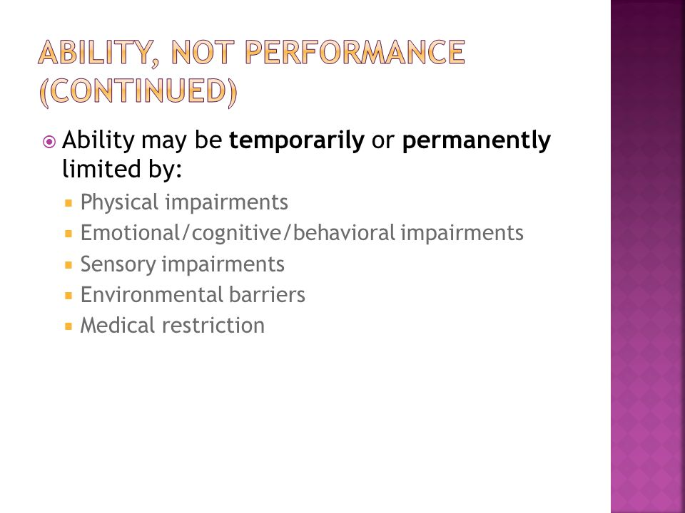 Ability, not performance (continued)