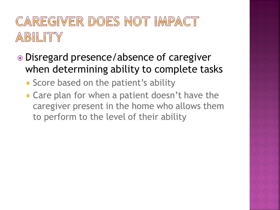 Caregiver does not impact ability