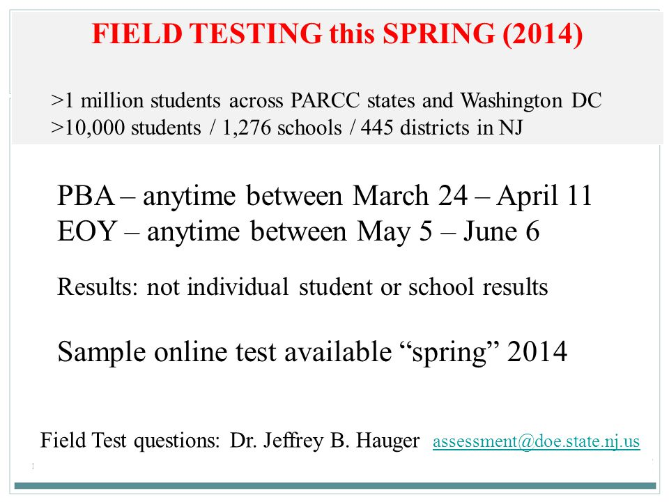 FIELD TESTING this SPRING (2014)