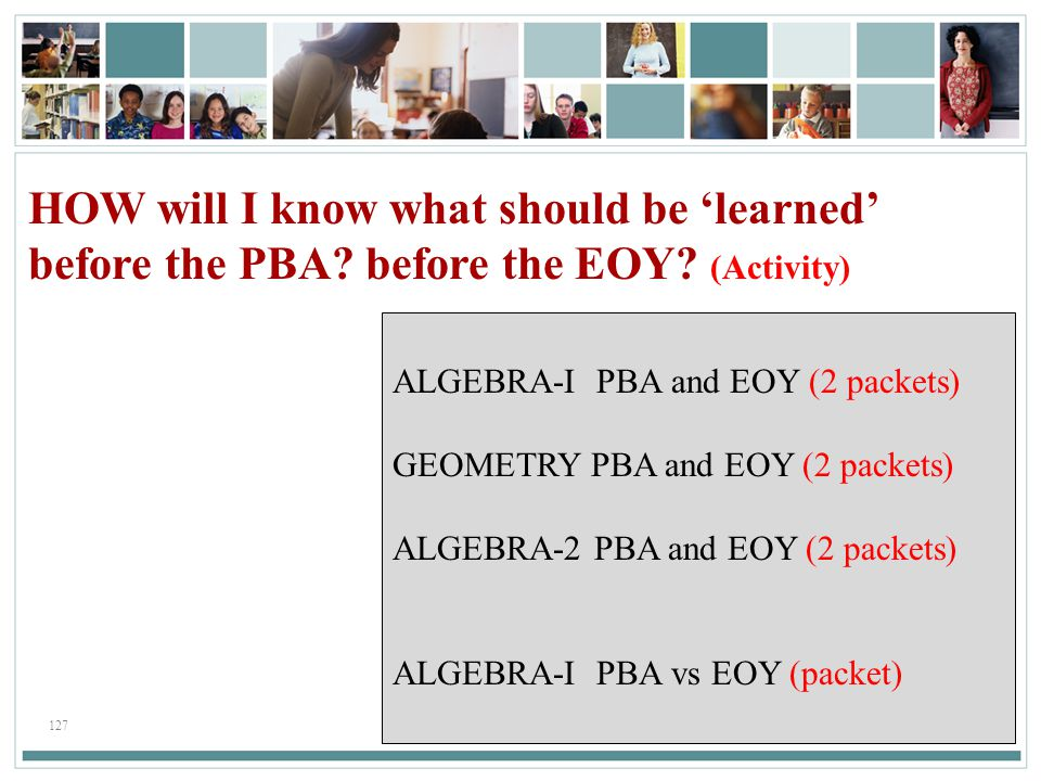 HOW will I know what should be 'learned' before the PBA before the EOY (Activity)