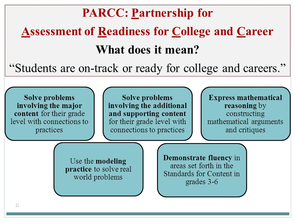 PARCC: Partnership for Assessment of Readiness for College and Career