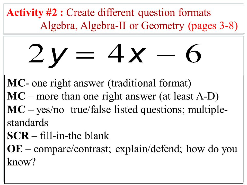 Algebra, Algebra-II or Geometry (pages 3-8)
