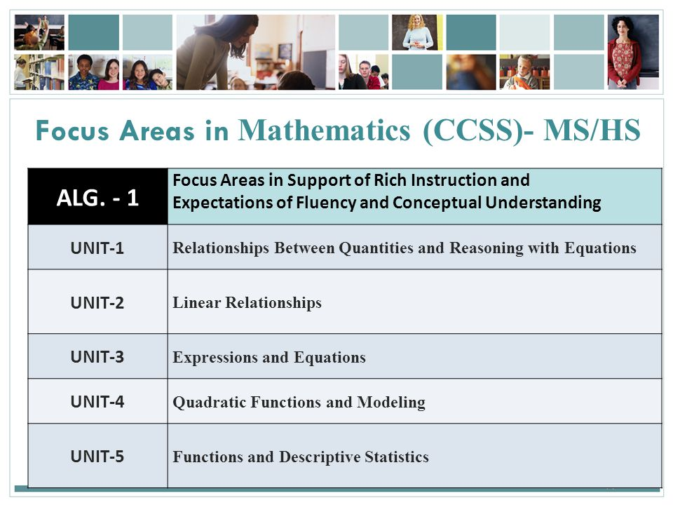 Focus Areas in Mathematics (CCSS)- MS/HS