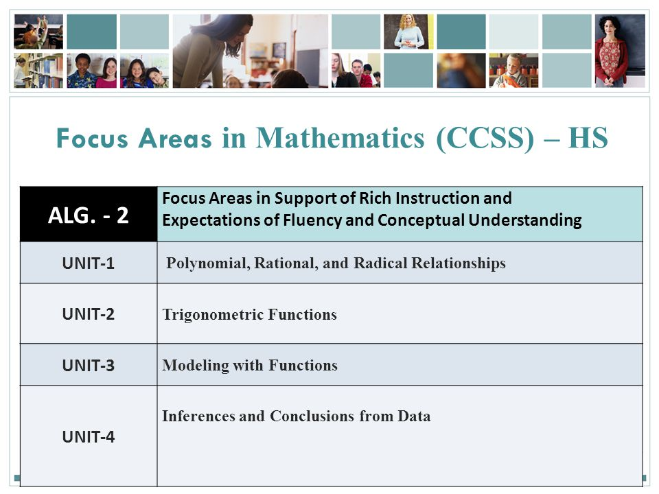 Focus Areas in Mathematics (CCSS) – HS