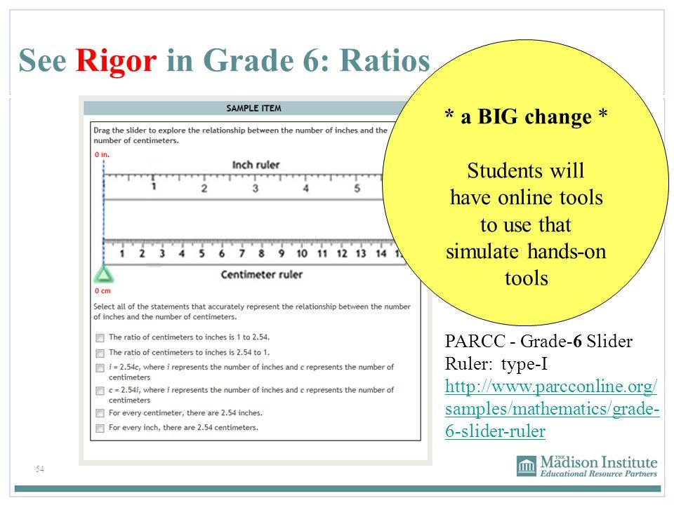 See Rigor in Grade 6: Ratios