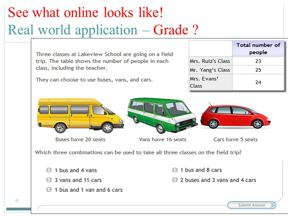 See what online looks like! Real world application – Grade