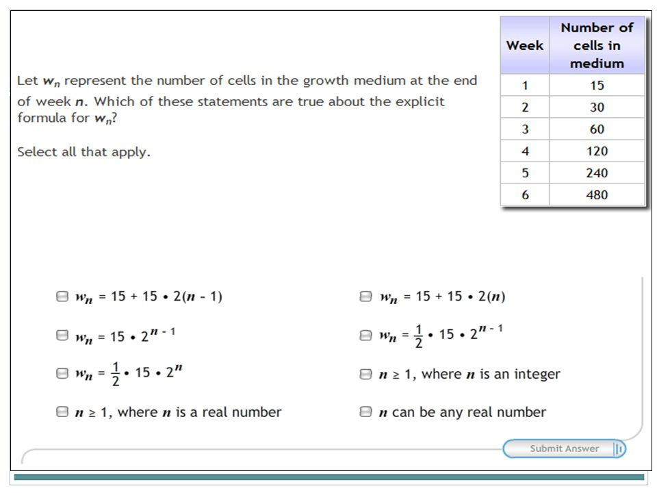 Part C In Part C, students must recognize statements that are true after applying the formula.
