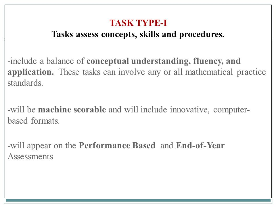 Tasks assess concepts, skills and procedures.