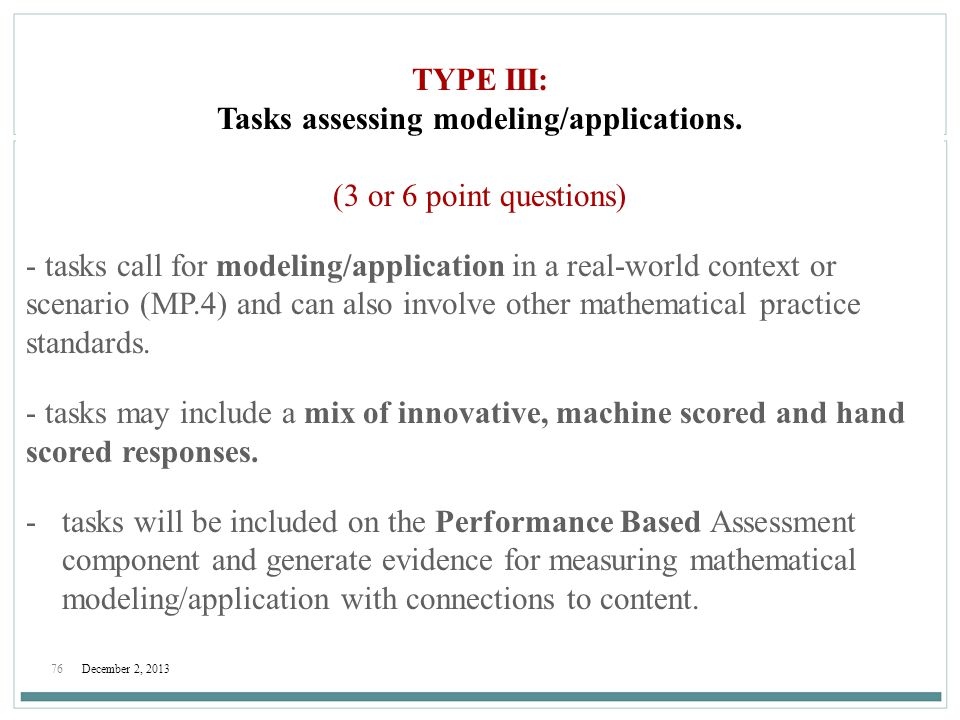 Tasks assessing modeling/applications.
