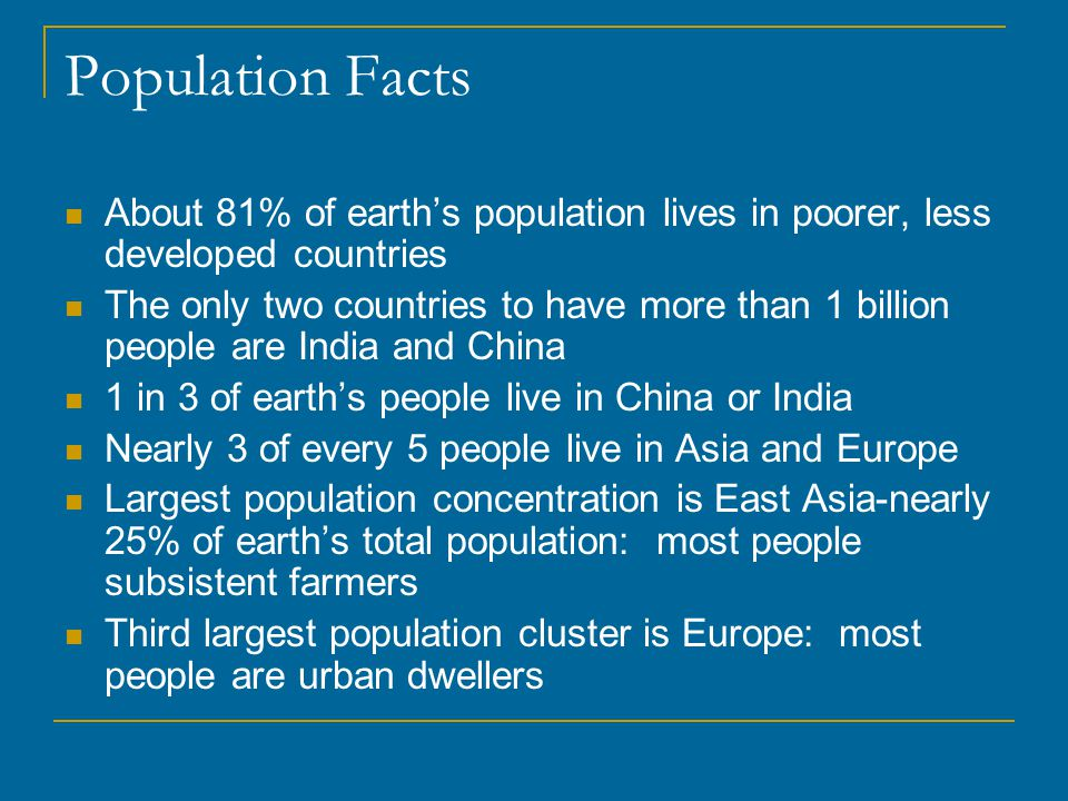 Population Facts About 81% of earth's population lives in poorer, less developed countries.