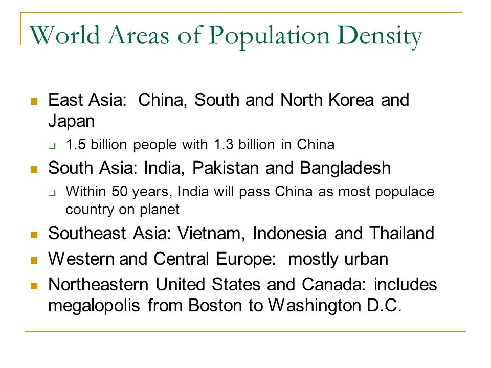 World Areas of Population Density