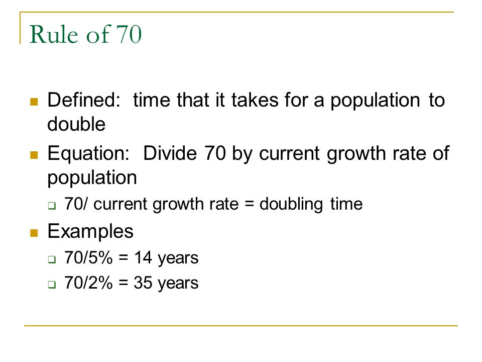 Rule of 70 Defined: time that it takes for a population to double