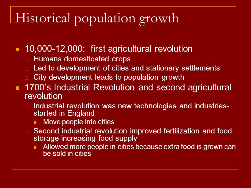 Historical population growth