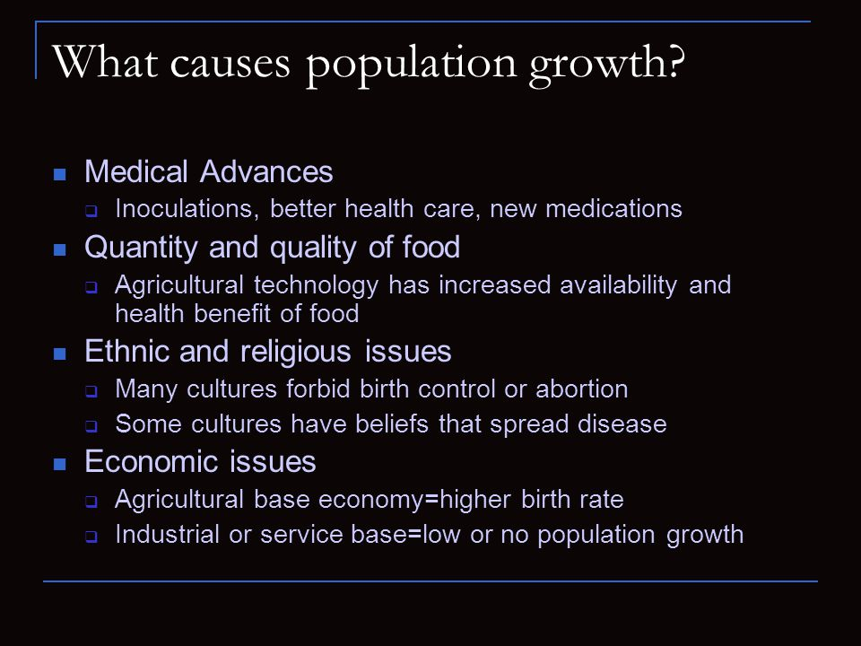 What causes population growth