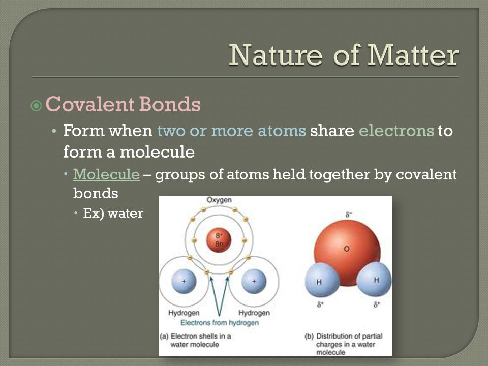 Nature of Matter Covalent Bonds