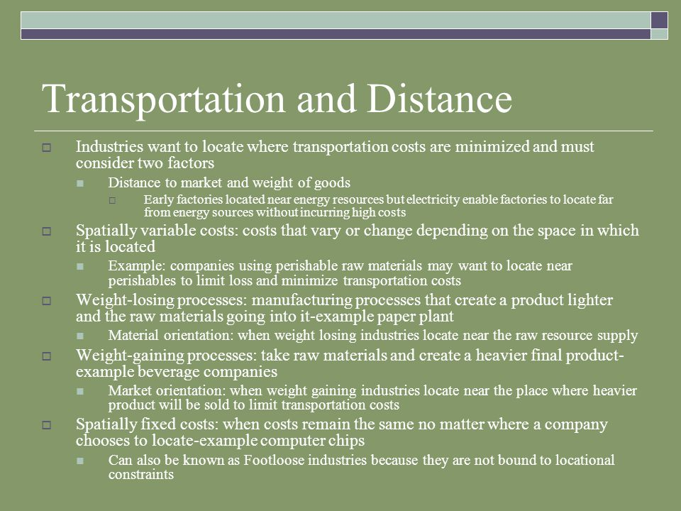 Transportation and Distance
