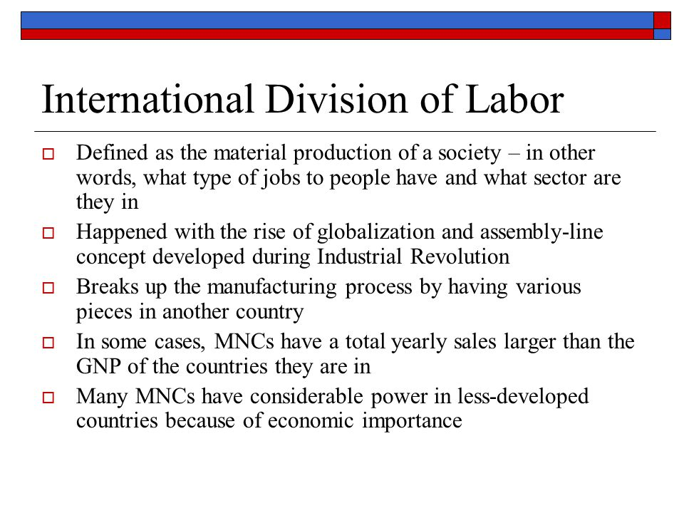 International Division of Labor