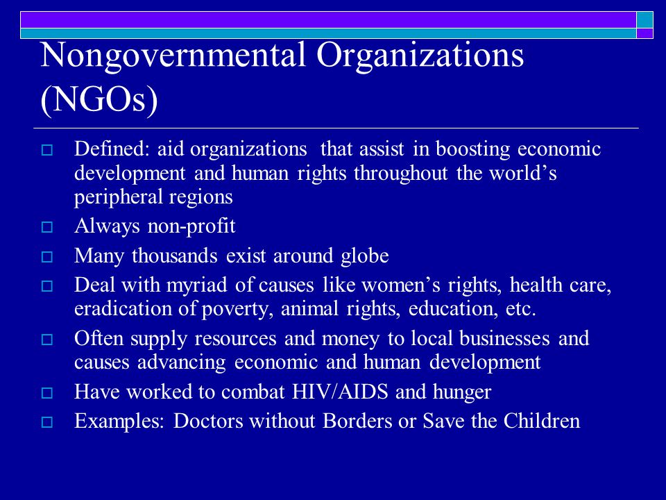 Nongovernmental Organizations (NGOs)