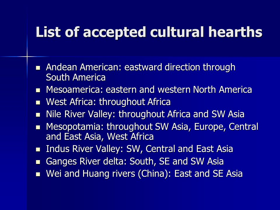 List of accepted cultural hearths