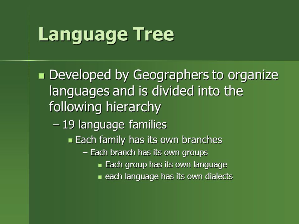 Language Tree Developed by Geographers to organize languages and is divided into the following hierarchy.