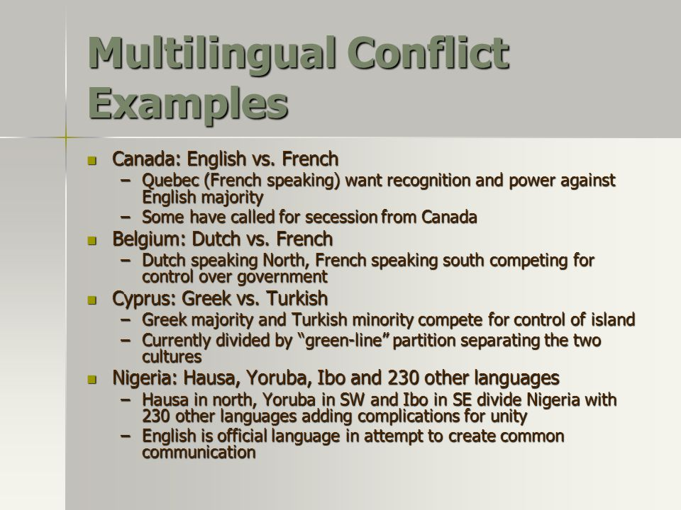 Multilingual Conflict Examples