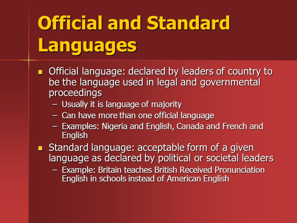 Official and Standard Languages