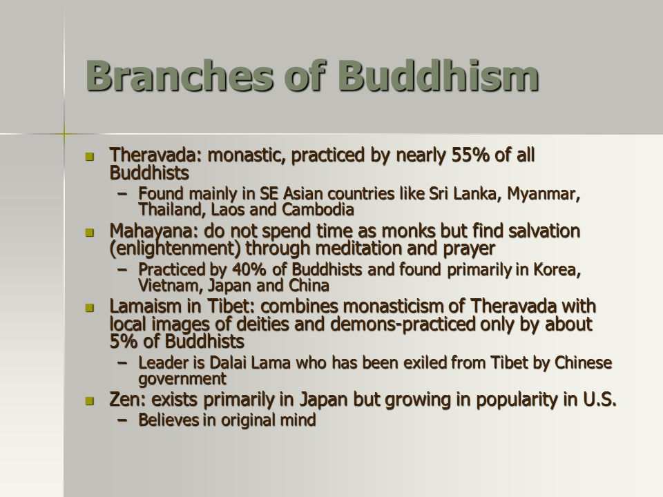 Branches of Buddhism Theravada: monastic, practiced by nearly 55% of all Buddhists.