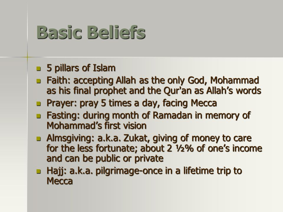 Basic Beliefs 5 pillars of Islam