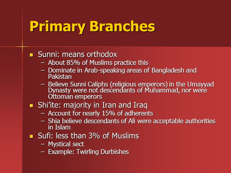 Primary Branches Sunni: means orthodox