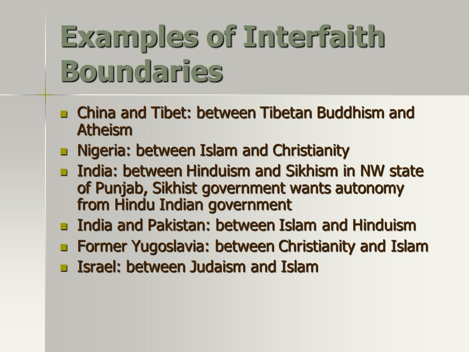 Examples of Interfaith Boundaries