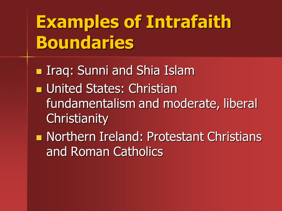 Examples of Intrafaith Boundaries