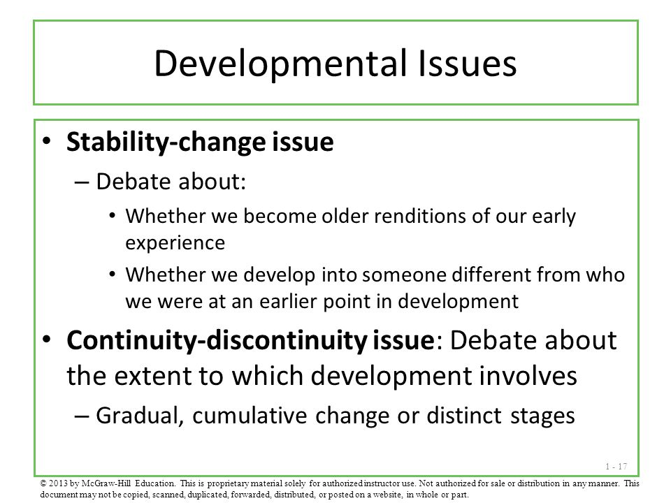 Developmental Issues Stability-change issue